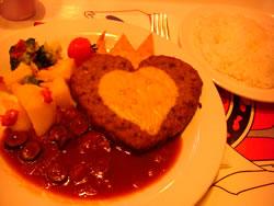 ハートのハンバーグ、トマトデミグラスソース
